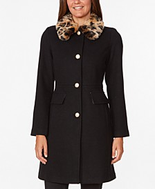 Leopard-Faux-Fur Collar Coat