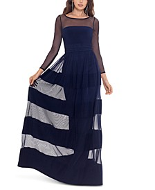 Striped-Skirt Gown