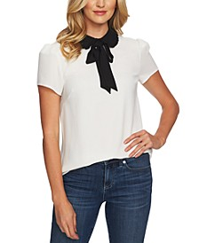 Tie-Neck Peter Pan-Collar Top