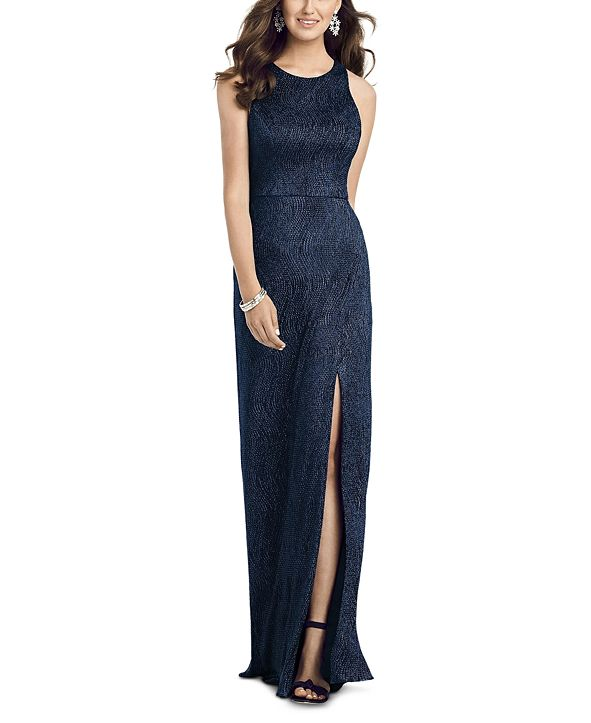 Dessy Collection Metallic A-Line Gown