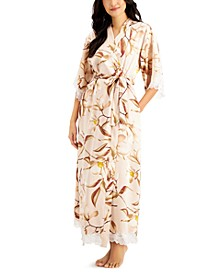 Lace-Trim Floral-Print Long Wrap Robe, Created for Macy's