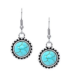Simulated Turquoise Fine Silver Plated Round Wire Earrings