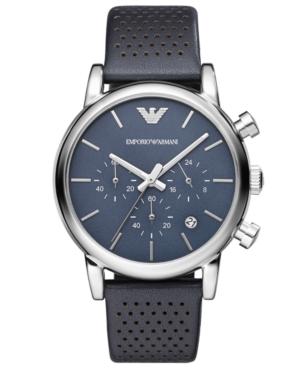 Emporio Armani Watch, Men's Chronograph Blue Leather Strap 41mm AR1736