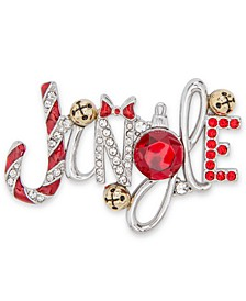 Two-Tone Crystal & Bell Jingle Pin, Created for Macy's