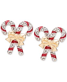 Two-Tone Pavé Candy Cane Stud Earrings, Created for Macy's