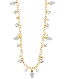 "Two-Tone Crystal, Imitation Pearl & Glitter Bulb Jingle Bell 36"" Strand Necklace, Created for Macy's"