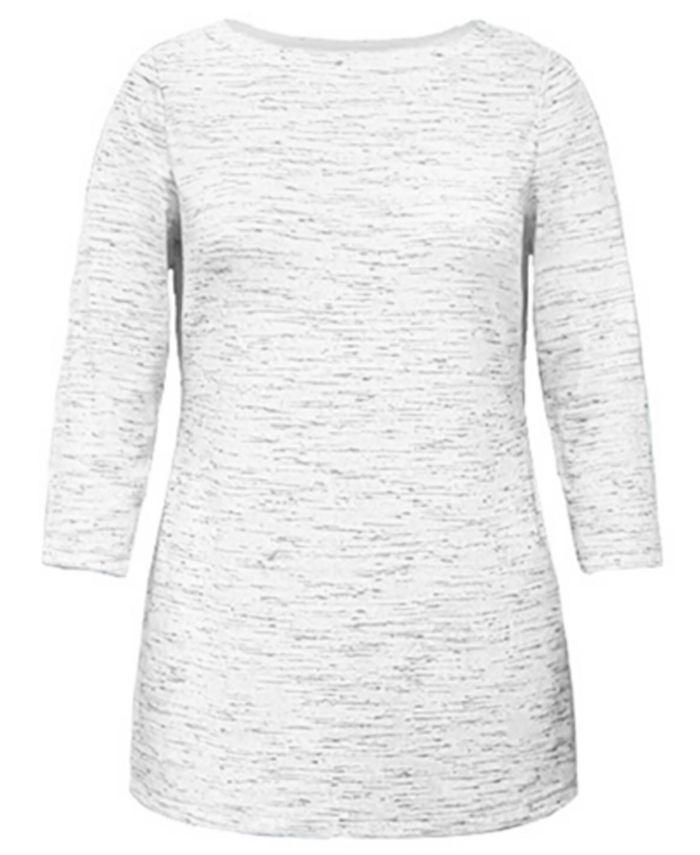 Karen Scott - Plus Size Space-Dyed Tunic Top