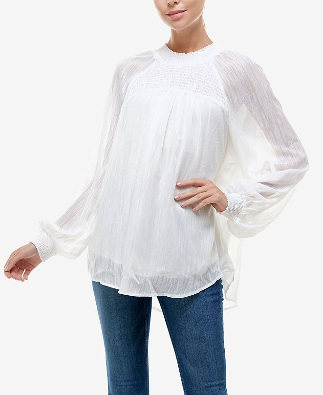 Q & A Textured Puff-Sleeve Top