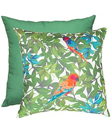 """Parrot Print & Solid 20"""" x 20"""" Outdoor Decorative Pillow 2-Pack"""