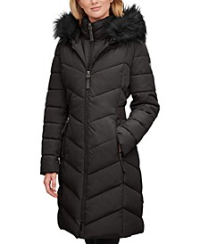 Faux-Fur-Trim-Hooded Puffer Coat, Created for Macy's