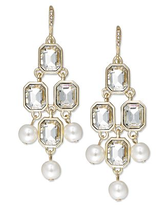 Charter Club Gold-Tone Crystal and Imitation Pearl Chandelier Earrings