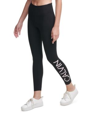 Calvin Klein Performance Logo High-waist Leggings In Black Secret