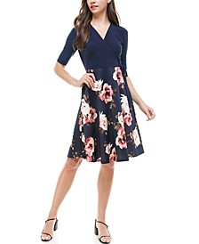 Petite Wrap-Top Floral-Skirt Fit & Flare Dress