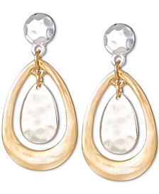 Two-Tone Hammered Drop Earrings, Created for Macy's