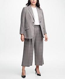 Plus Size Plaid Jacket, Blouse & Pants