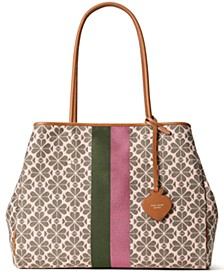 Spade Flower Jacquard Everything Stripe Large Tote