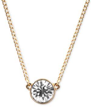 "Necklace, Swarovski Element Pendant, 16"" + 2"" Extender in Gold-Tone"