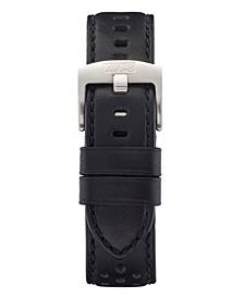 Men's Black Genuine Leather Strap, 22mm