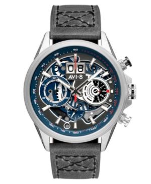 Men's Hawker Harrier Ii Gray Genuine Leather Strap Watch