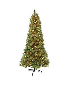 7.5' Pre-Lit Two Tone Slim Tree with Gold-Tone Glitter Dusting All Tips, 400 Ul Clear Lights