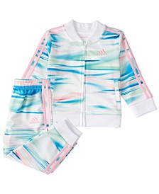 Baby Girls Zip Front Printed Jacket & Tricot Jogger Set
