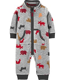 Baby Boy  Animal Print Fleece Jumpsuit