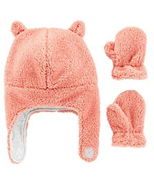 Baby Girl  2-Piece Sherpa Hat & Mittens Set