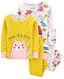 Baby Girl  4-Piece Bear Snug Fit Cotton PJs