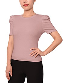 Trendy Plus Size Puffed-Sleeve Top