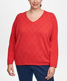 Plus Size Ivy Cotton Argyle Sweater