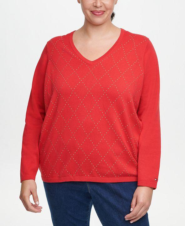 Tommy Hilfiger Plus Size Ivy Cotton Argyle Sweater