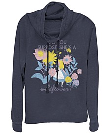 Women's Alice in Wonderland Wildflower Fleece Cowl Neck Sweatshirt