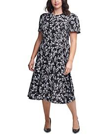 Plus Size Ditsy Floral-Print Midi Dress