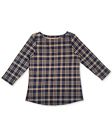Cotton Plaid 3/4-Sleeve Top, Created for Macy's