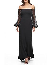 Petite Off-The-Shoulder Embellished-Sleeve Gown