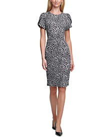 Printed Tulip-Sleeve Sheath Dress