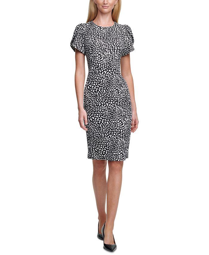 Calvin Klein - Printed Tulip-Sleeve Sheath Dress
