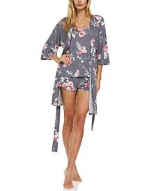 Patricia 3-Pc. Robe, Cami & Tap Shorts Travel Sleep Set
