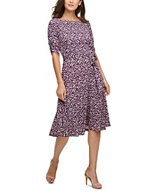 Petite Ruched-Sleeve Midi Fit & Flare Dress