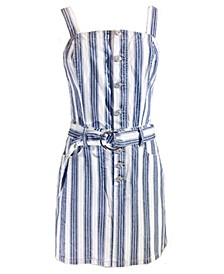 Juniors' Cotton Belted Denim Dress