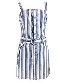Rewash Juniors' Cotton Belted Denim Dress