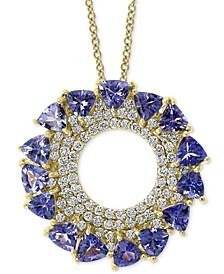 "EFFY® Tanzanite (3-1/4 ct. t.w.) & Diamond (5/8 ct. t.w.) Circle 18"" Pendant Necklace in 14k Gold"