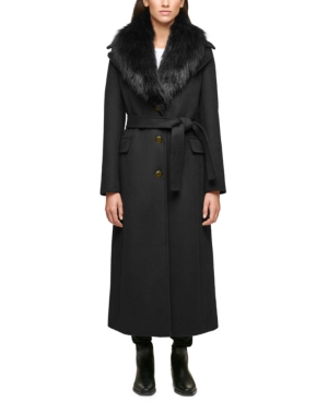 1930s Style Coats, Jackets | Art Deco Outerwear Calvin Klein Petite Faux-Fur-Collar Maxi Coat $207.00 AT vintagedancer.com