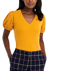 Rae Puff-Sleeve V-Neck Top, Created for Macy's