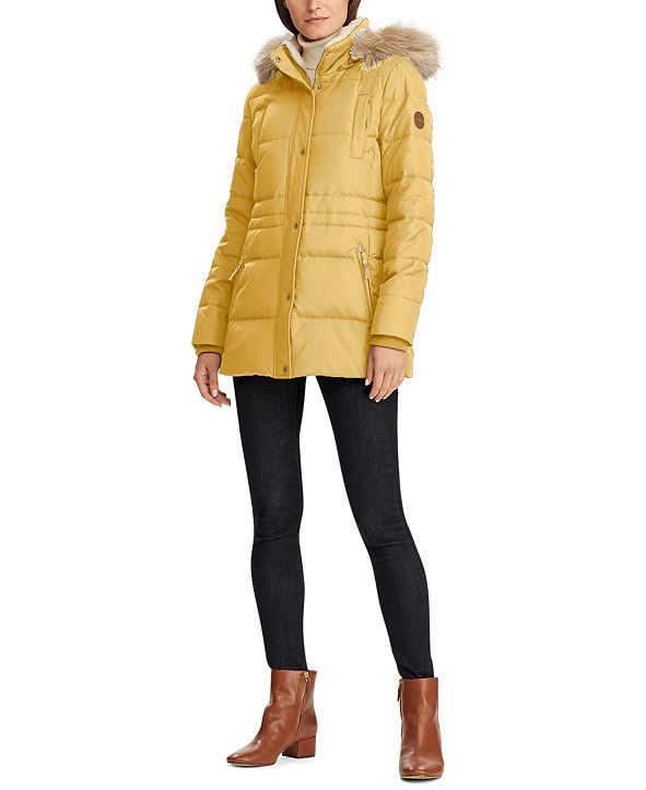Lauren Ralph Lauren Faux-Fur Trim Hooded Down Coat, Created for Macy's