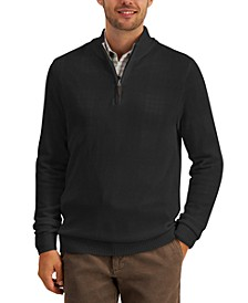 Men's Quarter-Zip Textured Cotton Sweater, Created for Macy's