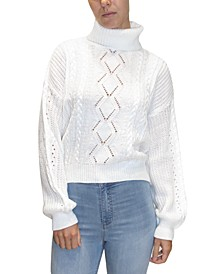Juniors' Cable-Knit Turtleneck Sweater