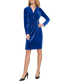 Velvet Ruched Side-Bar Dress
