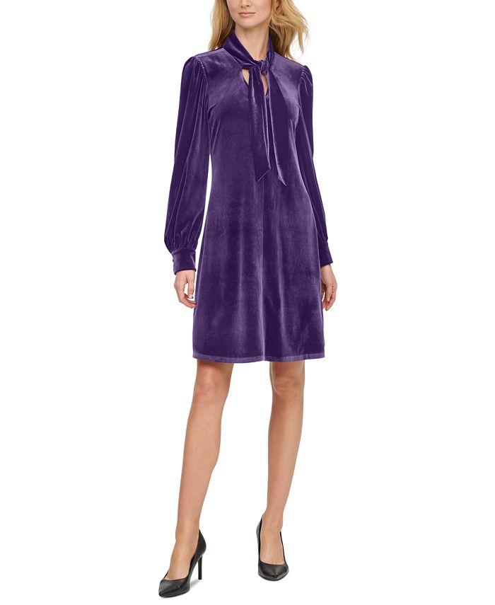 Calvin Klein - Velvet Tie-Front Shift Dress