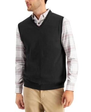 1950s Men's Clothing Club Room Mens Solid V-Neck Sweater Vest Created for Macys $12.36 AT vintagedancer.com